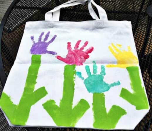 Hand Print Book Bag Easy Mother's Day Gifts Ideas Kids Can Make
