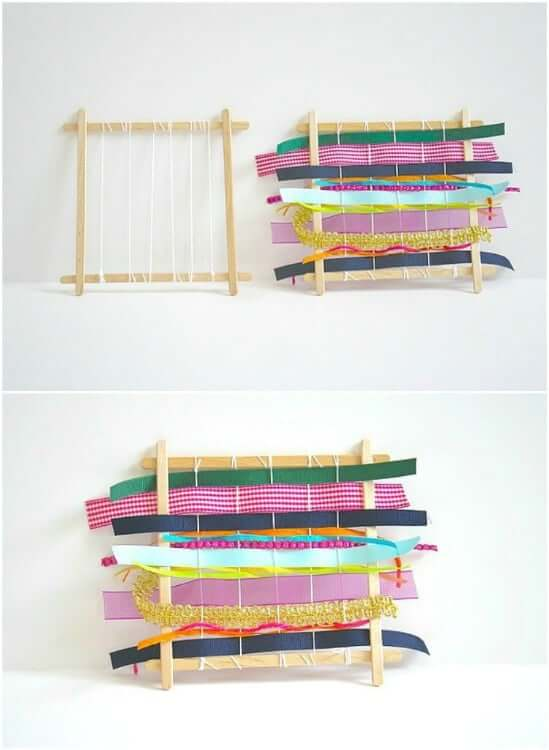 Homemade Weaving Looms Easy Popsicle Stick Crafts & Activities for Kids