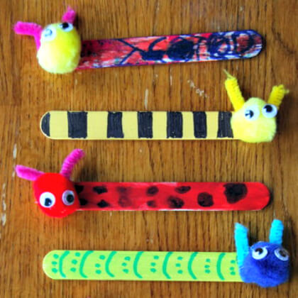 DIY Cute Bookmarks Easy Popsicle Stick Crafts & Activities for Kids