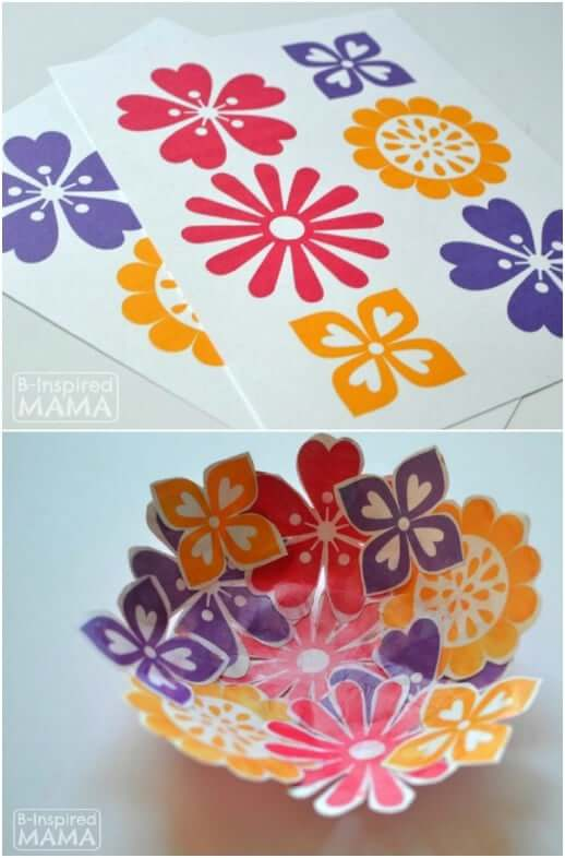 Paper Flower Collage Bowl Easy Mother's Day Gifts Ideas Kids Can Make