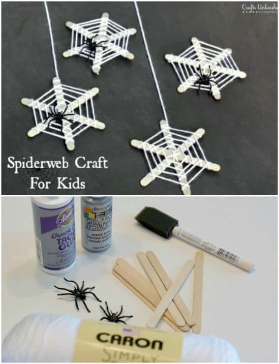 Spiderweb Halloween Crafts Easy Popsicle Stick Crafts & Activities for Kids