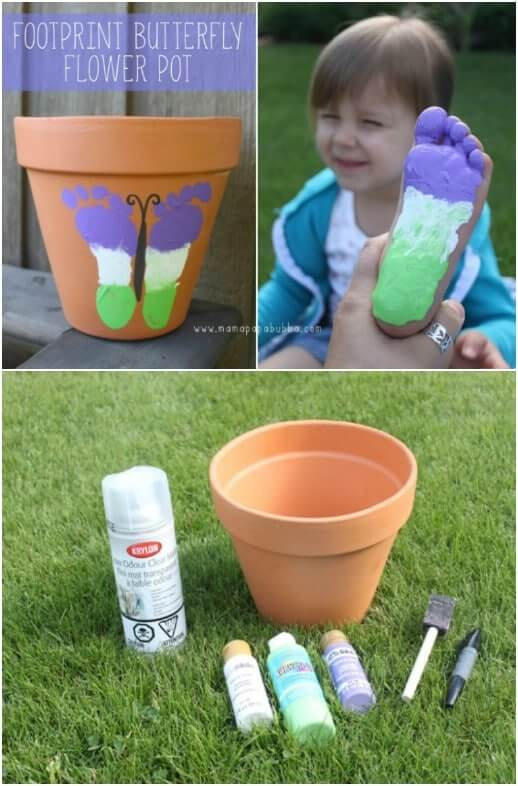 Footprint Butterfly Flower Pot Easy Mother's Day Gifts Ideas Kids Can Make