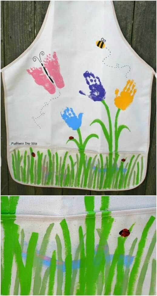 Hand-print Apron Easy Mother's Day Gifts Ideas Kids Can Make