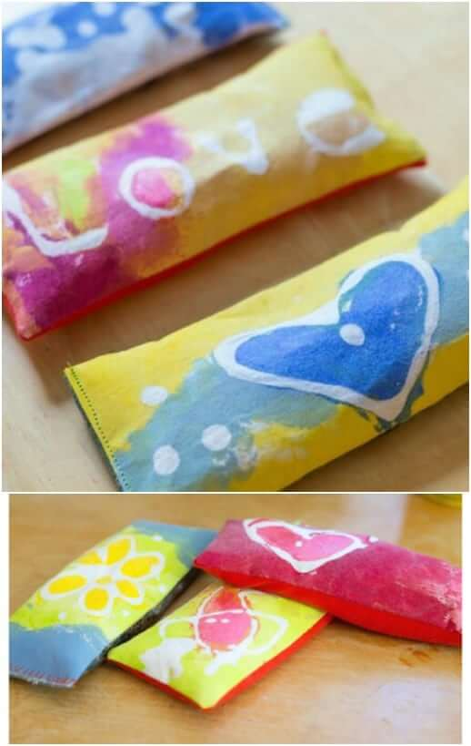 Eye Pillows with Lavender and Glue Batik Fabric Easy Mother's Day Gifts Ideas Kids Can Make