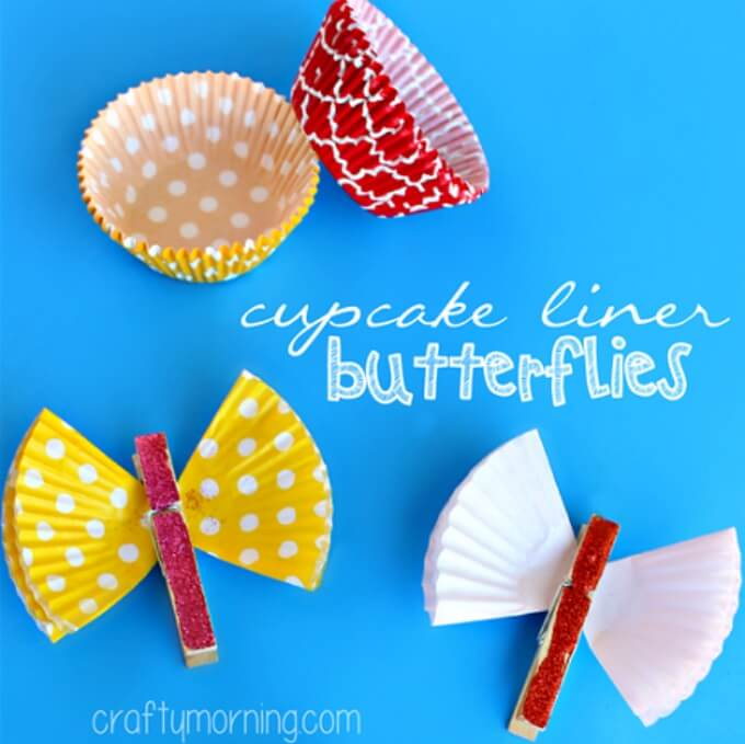 Cupcake liner butterfly art Cute Butterfly Crafts and Art Activities for Kids
