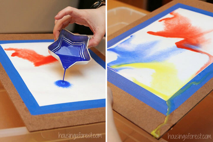 Pour Paintings with Water Colors Fun Painting Ideas for Kids