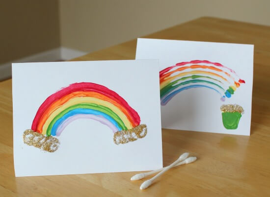 Q-Tips Rainbow Painting Fun Painting Ideas for Kids