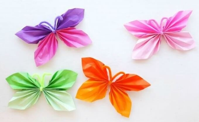 Folded paper butterfly DIY Cute Butterfly Crafts and Art Activities for Kids