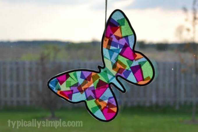 Stained glass butterfly design Cute Butterfly Crafts and Art Activities for Kids
