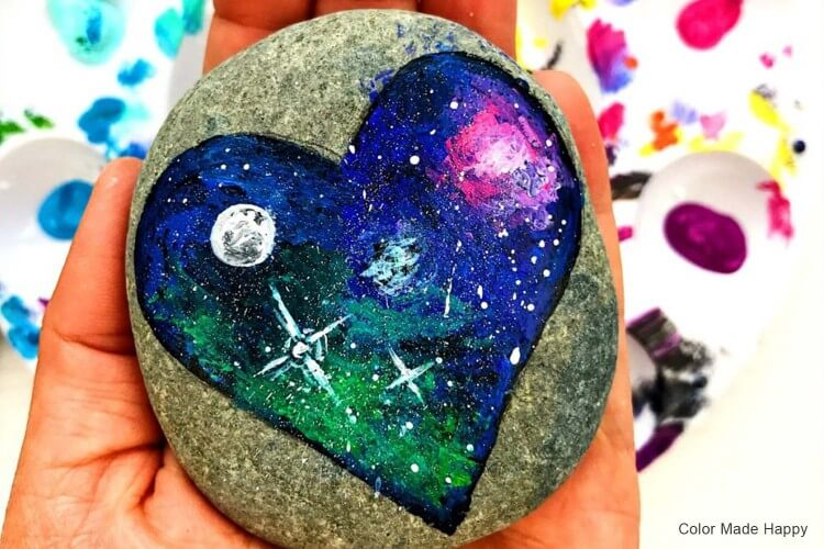 Galaxy Painted Rocks Fun Painting Ideas for Kids