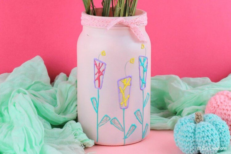 DIY Upcycle jar to Flower Vase Fun Painting Ideas for Kids