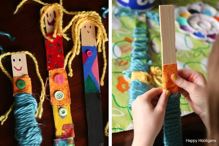 Paint Stick Dolls with Fabric Scraps and Yarns Fun Painting Ideas for Kids