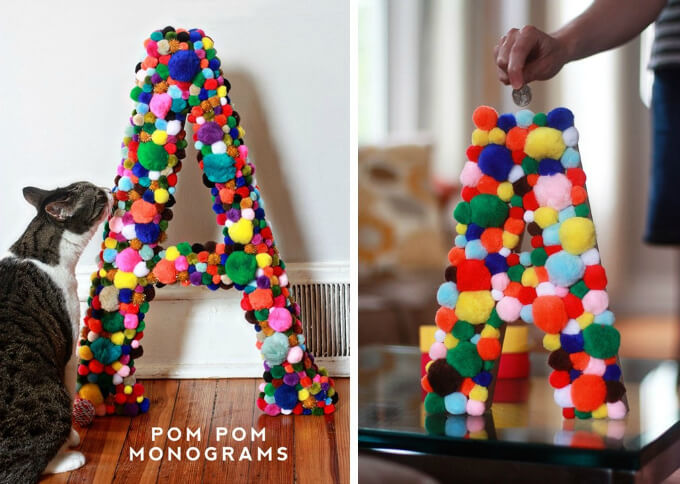 Letters Of The Name Using Pom Poms