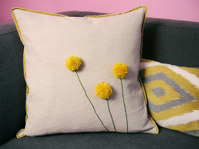 Pom Pom Cushion Designing