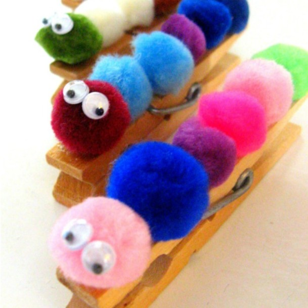 Cute Clothespin Caterpillars DIY Cute Clothespin Crafts For Kids