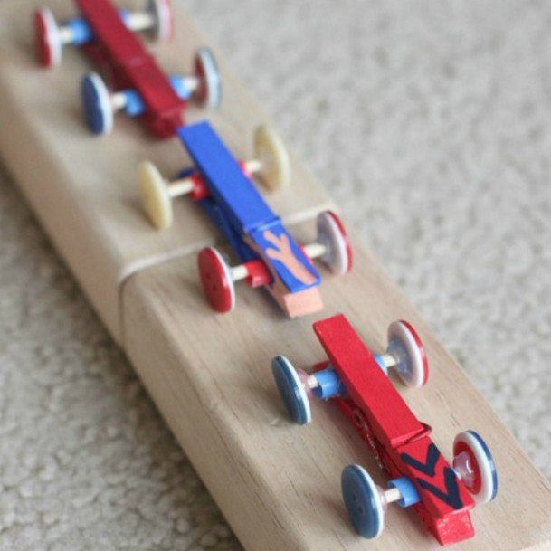 Clothespin and Button Cars DIY Cute Clothespin Crafts For Kids