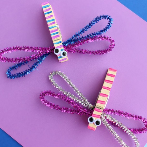 Sparkling Clothespin Dragonflies DIY Cute Clothespin Crafts For Kids