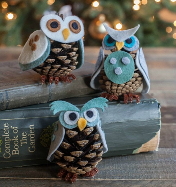 Mini Felt and Pine Cone Owls - DIY Felt Craft Ideas!Several easy Felt Crafts & Projects to make. Find felt crafts for kids, teens and adults with tutorials