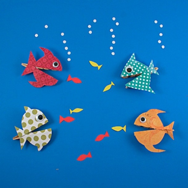 Hungry Clothespin Fishes DIY Cute Clothespin Crafts For Kids