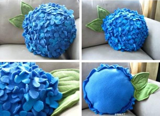DIY Felt Hydrangea Flower Pillow