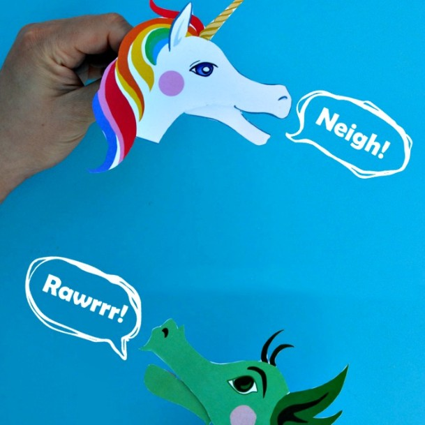Clothespin Unicorn-Dragon Puppets DIY Cute Clothespin Crafts For Kids