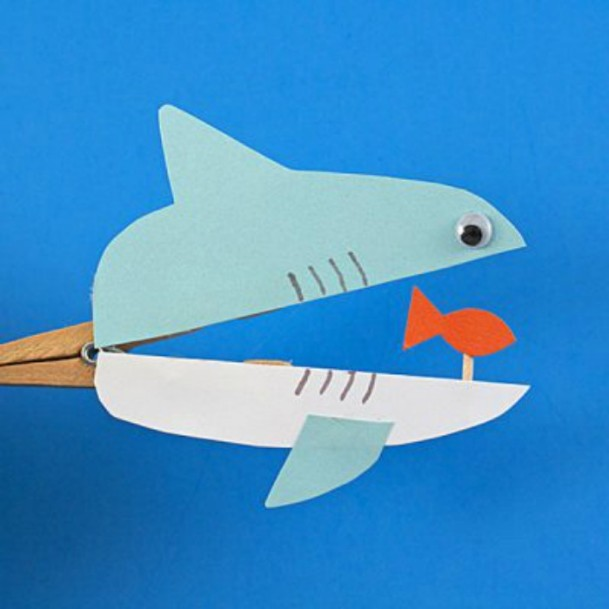 Clothespin Sharks DIY Cute Clothespin Crafts For Kids