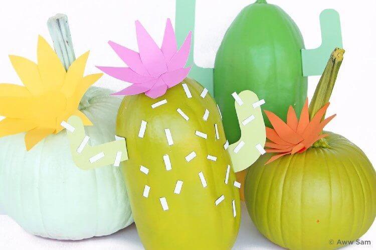 Cute cactus pumpkins