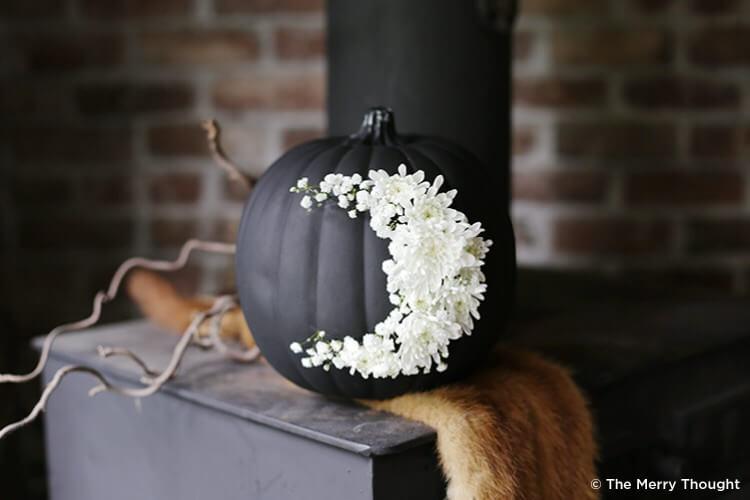 Flowery contrast pumpkin forHalloween decor