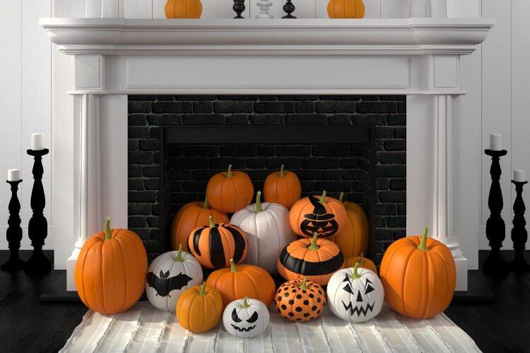 Spooky pumpkins for fireplace