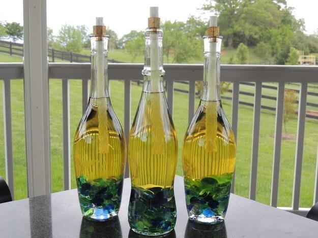 Wine bottle tikki torches