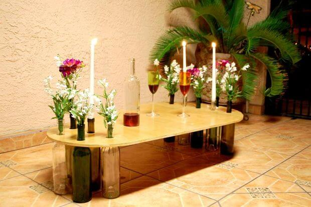 Dining table using wine bottles Wine bottle bird food keeper