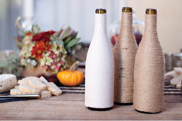 Yarn Vase Old Wine Bottles Crafts for Home Decor