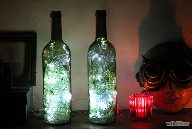 Glow in the dark DIY Old Wine Bottles Crafts for Home Decor