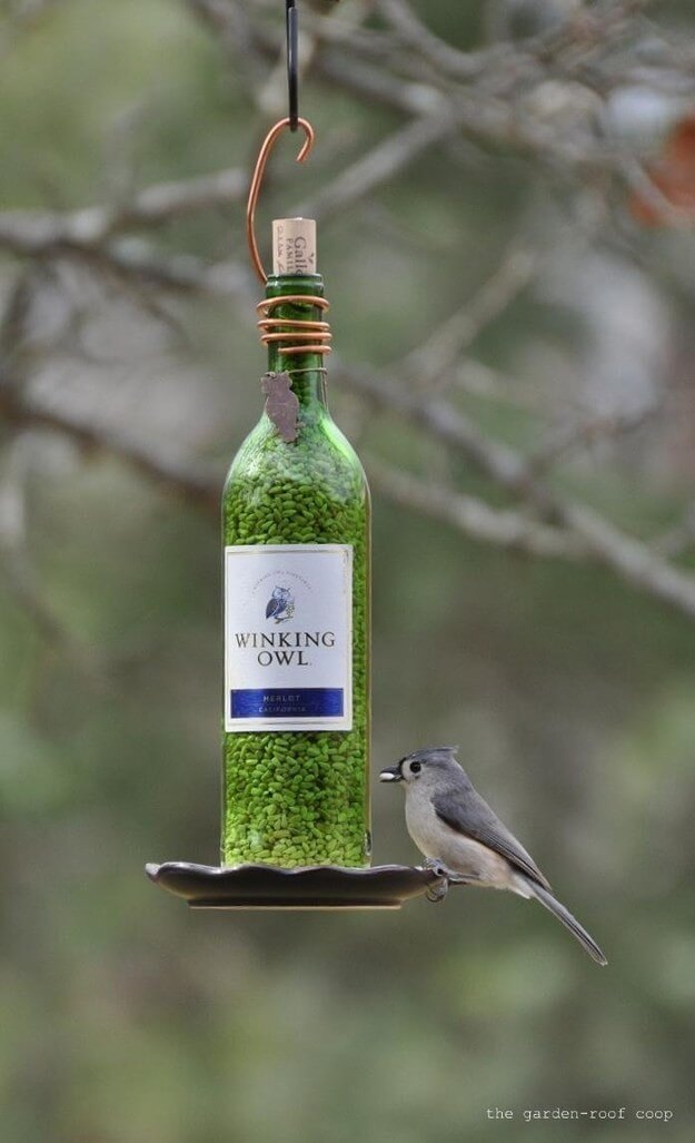 Wine bottle bird food keeper Wine bottle bird food keeper