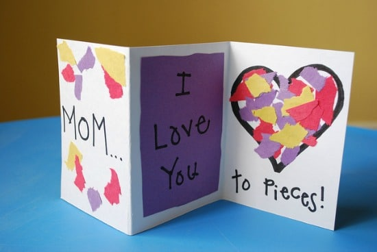 Tissue bits Mother's Day Card Mother's Day Craft Ideas for Kids