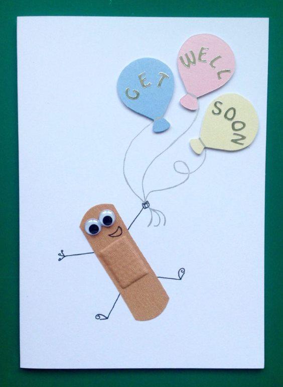 "Band-aid and balloon Get Well Soon Card Beautiful DIY ""Get Well Soon"" Card Ideas"