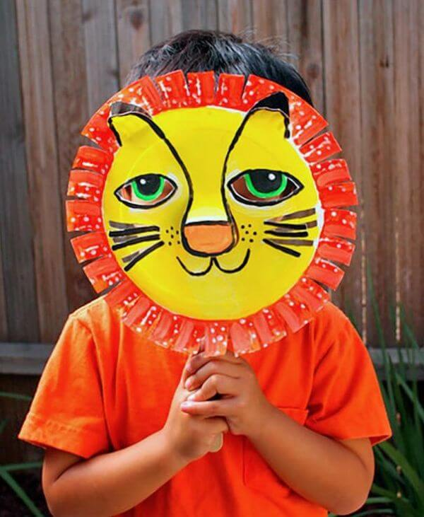 Tiger Paper Plate Masks - paper plate animal crafts for kids - toddlers & preschoolers