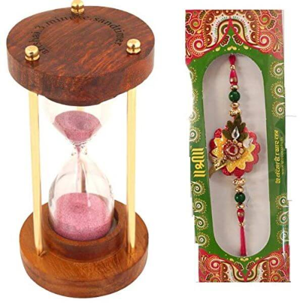Sand timer Hourglass wooden handicraft & Designer Rakhi for brothers Raksha bandhan Rakhi Gifts for Brother