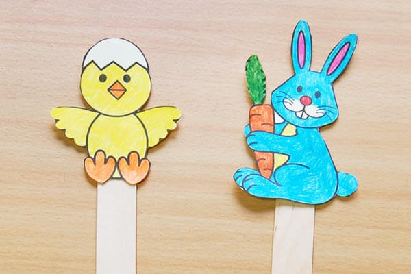 Bunny and Chick Stick Puppets Spring Craft Ideas for Kids with Easy Tutorials