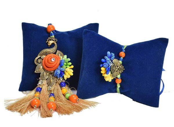 Rajasthani Peacock Bracelet lumba Rakhi for bhaiya and bhabhi Raksha bandhan Rakhi Gifts for Brother
