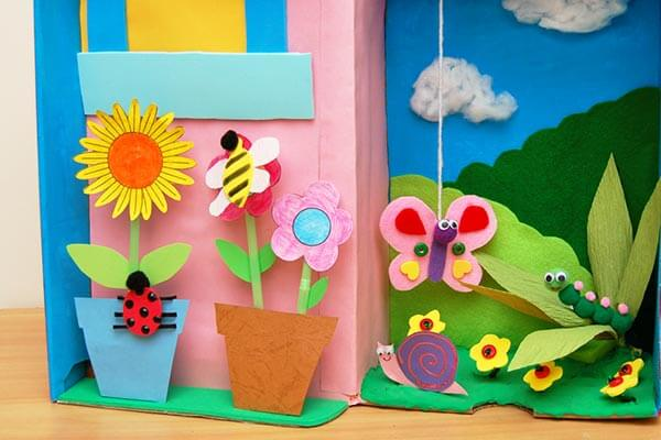 Garden Diorama Spring Craft Ideas for Kids with Easy Tutorials