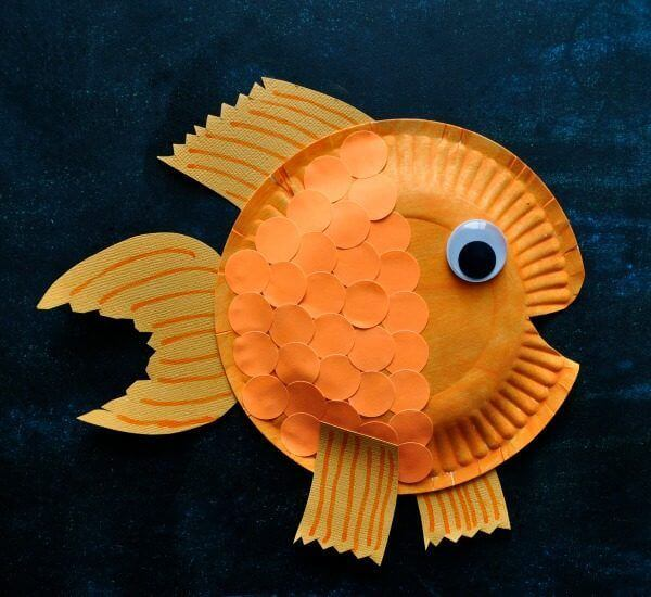 Paper Plate Gold Fish Crafts - paper plate animal crafts for kids - toddlers & preschoolers