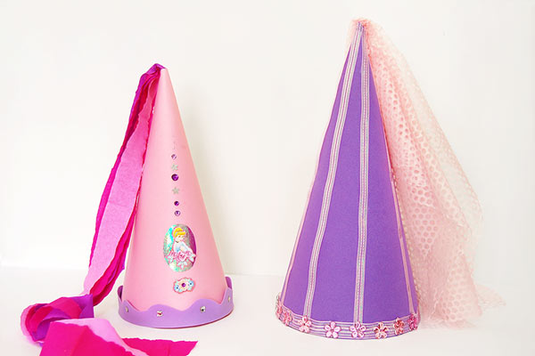 Princess DIY hats for kids birthday party