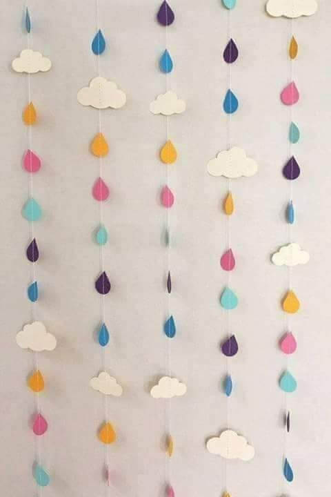 Rainy Season Theme Classroom Decoration Ideas for School - Rain Drop Hangings Classroom Decor