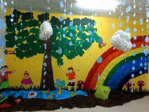 Rainy Season Theme Classroom Decoration Ideas for School - Faux Rain Drops Decor