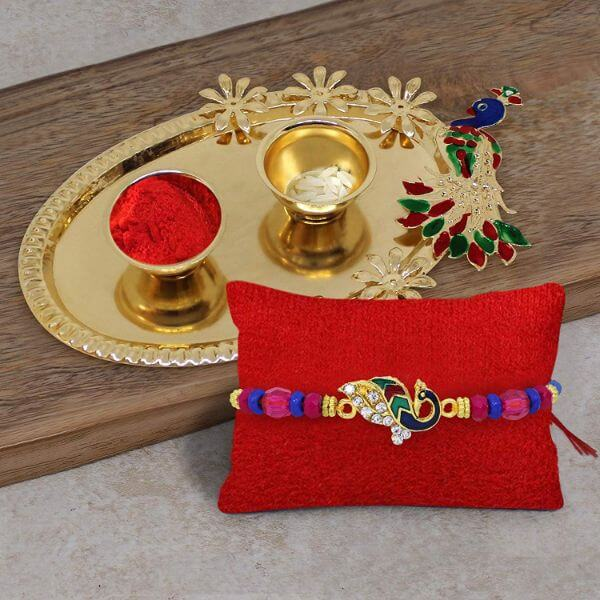 Designer Rakhis & Rakhi Hampers Gifts for Brother with Peacock Design Thali Raksha bandhan Rakhi Gifts for Brother