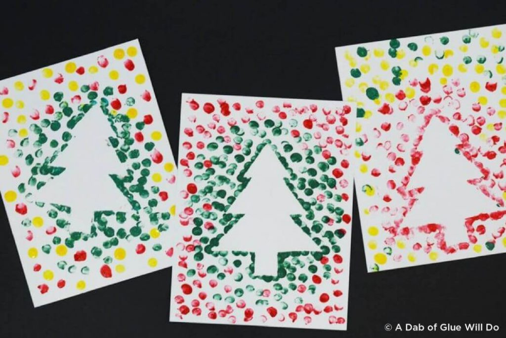 Stencil Christmas card crafts for kids Easy Christmas Craft Ideas for Kids