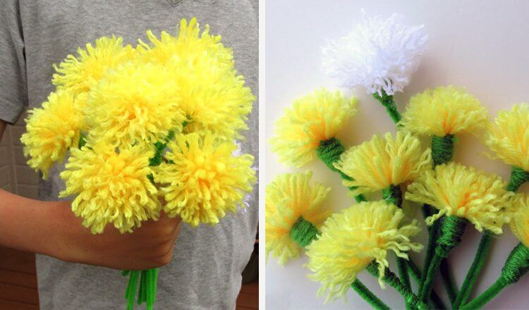 woolen flowers as Mother's Day gift Mother's Day Craft Ideas for Kids