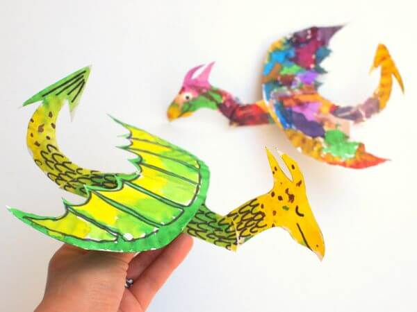 Dragon Paper Plate Crafts - paper plate animal crafts for kids - toddlers & preschoolers