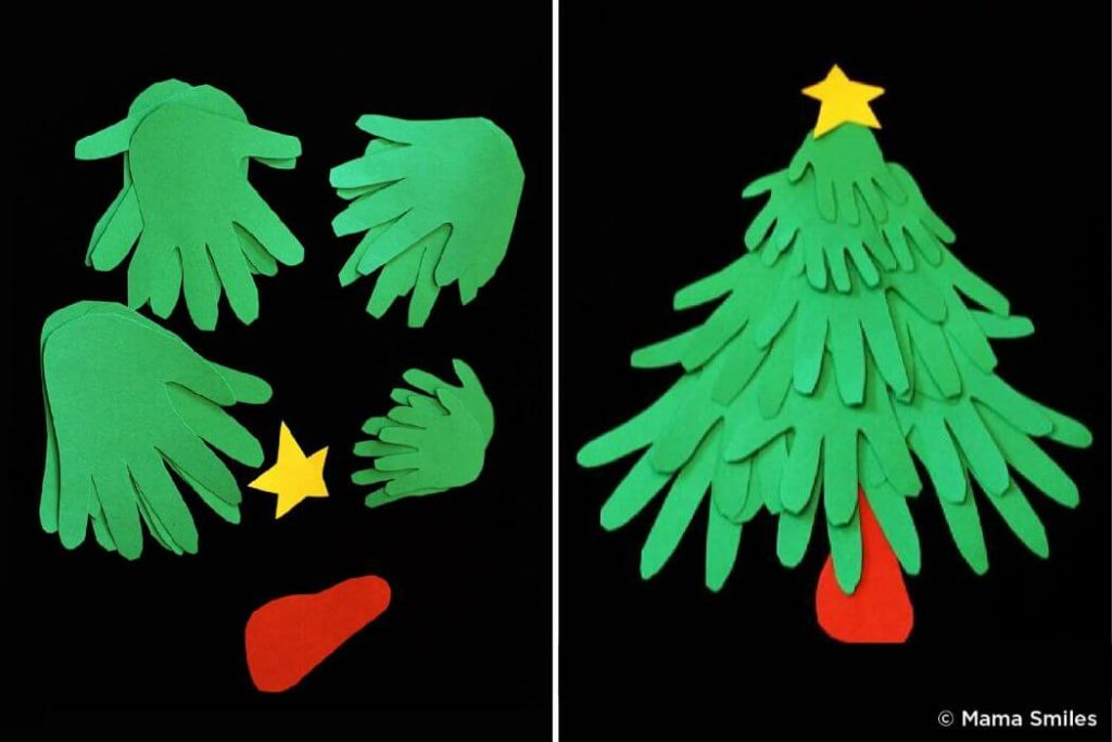 Hand cutouts Christmas Craft ideas for kids Easy Christmas Craft Ideas for Kids